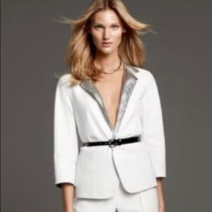 Worth NY White Silver Foil Leather Blazer Jacket